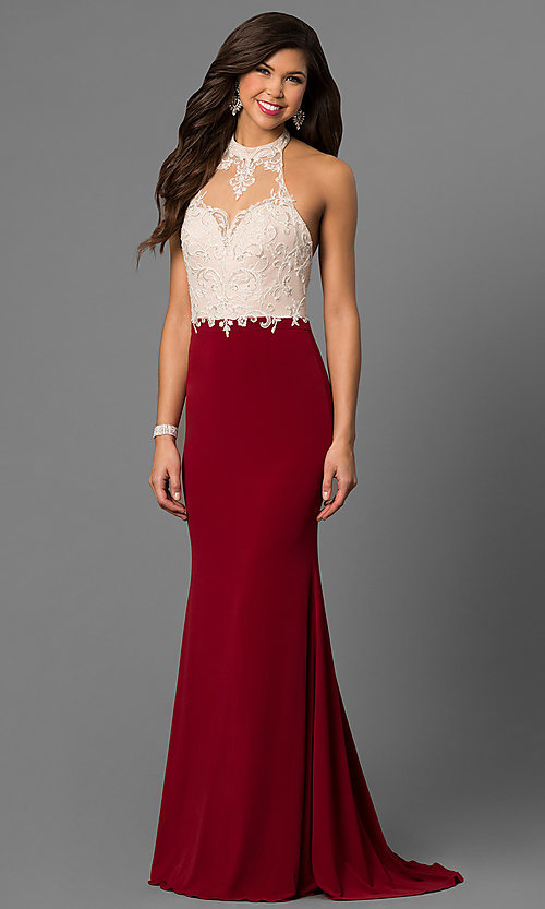 Image of long high-neck halter prom dress with lace bodice. Style: NC-7369 Front Image