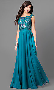 Scoop Neck Long Sleeveless Prom Dress