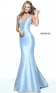 Sherri Hill Trumpet Skirt V-Neck Prom Dress