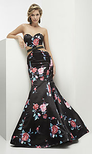 Black Floral Print Mermaid Cut-Out Prom Dress