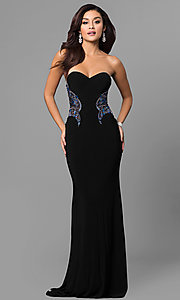 Beaded Illusion-Bodice Long Jasz Dress