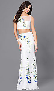 Embroidered Two Piece Ivory Prom Dress