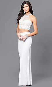 Image of ivory two-piece illusion sweetheart prom dress.  Style: DJ-A5089 Front Image