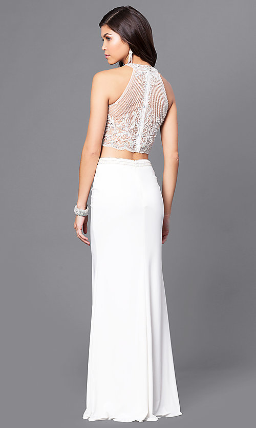 Image of ivory two-piece illusion sweetheart prom dress.  Style: DJ-A5089 Back Image