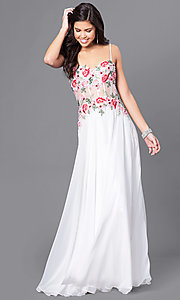 Long Embroidered Sweetheart Prom Dress