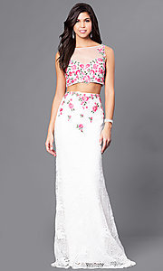 Ivory Lace Illusion Sweetheart Two Piece Prom Dress