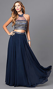 Long Two Piece Blue Halter Prom Dress