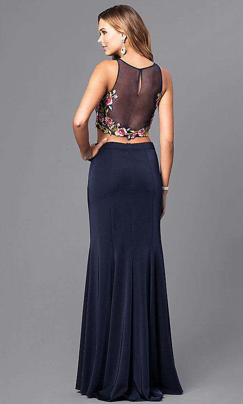 Image of two-piece long prom dress with embroidered top. Style: DJ-3064 Back Image