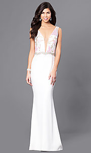 Long Ivory Low V-Neck Sleeveless Prom Dress