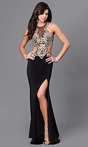 Image of long prom dress with, open back by Dave & Johnny. Style: DJ-A5324 Front Image