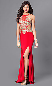 Image of long prom dress with, open back by Dave & Johnny. Style: DJ-A5324 Detail Image 1