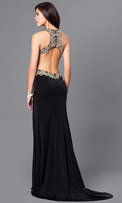 Image of long prom dress with, open back by Dave & Johnny. Style: DJ-A5324 Back Image