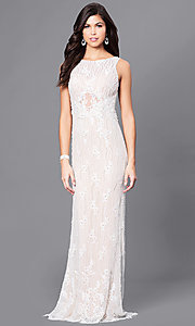 Long Ivory Lace Prom Dress with Beads