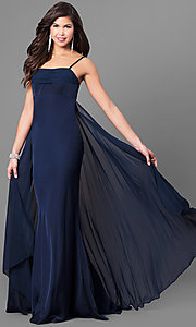 Long Empire Waist Spaghetti Strap Prom Dress