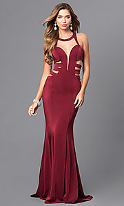 Long High Neck Prom Dress with Side Cut Outs
