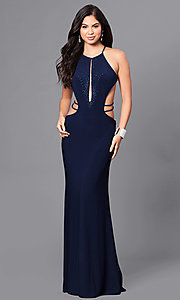 High-Neck Open-Back Prom Dress with Cut Outs