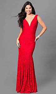Image of red lace v-neck long open-back prom dress.  Style: DJ-A5127 Front Image