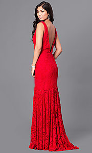 Image of red lace v-neck long open-back prom dress.  Style: DJ-A5127 Back Image