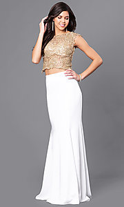 Long Embroidered Two Piece Cap Sleeve Prom Dress