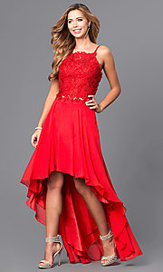 Red Two Piece High Low Prom Dress