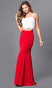 Two-Piece Lace-Top Dave and Johnny Prom Dress