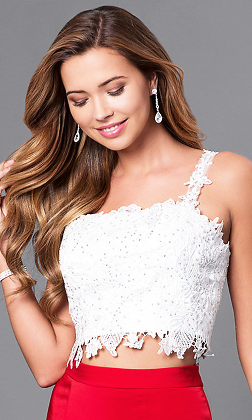 Image of two-piece lace-top Dave and Johnny prom dress.  Style: DJ-A4882 Detail Image 1