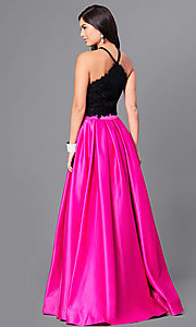 Image of two-piece two-tone prom dress by Dave and Johnny. Style: DJ-A5345 Back Image