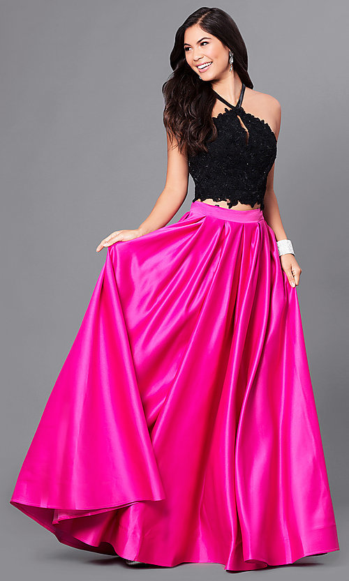 Two-Tone High-Neck Two-Piece Prom Dress - PromGirl