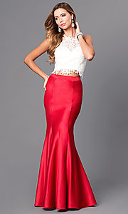 Image of long two-piece prom dress with trumpet skirt. Style: DJ-A4979 Front Image