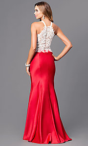 Image of long two-piece prom dress with trumpet skirt. Style: DJ-A4979 Back Image