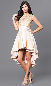 High-Low Short Dress with Removable Beaded Top