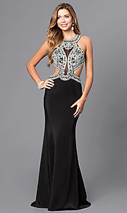 Long Black Open Back Prom Dress with Cut Outs