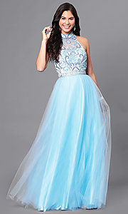 High-Neck Open-Back Long Beaded-Bodice Prom Dress