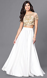 Long Two-Piece Short-Sleeve Prom Dress