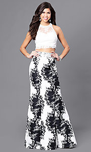 Long Print Sheer Back Two Piece Prom Dress