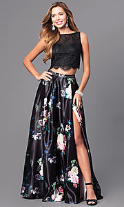 Black Print Two Piece Dave and Johnny Prom Dress