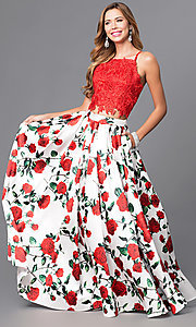 Image of rose-print two-piece long prom dress with lace top. Style: DJ-A5265 Front Image