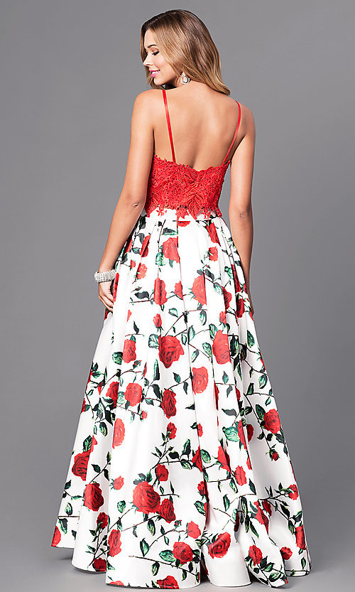 Image of rose-print two-piece long prom dress with lace top. Style: DJ-A5265 Back Image