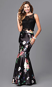 Black Print Two Piece Long Prom Dress