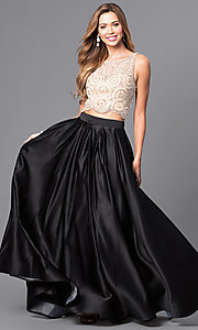 Image of two-piece Dave & Johnny long prom dress with beading. Style: DJ-A5268 Front Image
