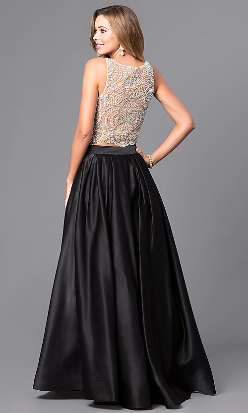 Image of two-piece Dave & Johnny long prom dress with beading. Style: DJ-A5268 Back Image