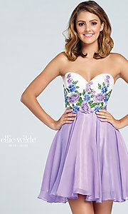 Short Prom Dress with Strapless Embroidered Bodice