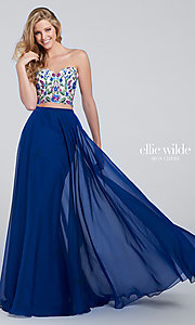 Long Prom Dress with Strapless Embroidered Bodice