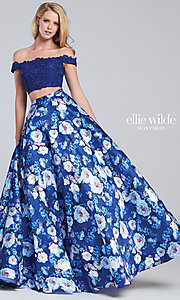 Lace Bodice Off-the-Shoulder Long Print Skirt Prom Dress
