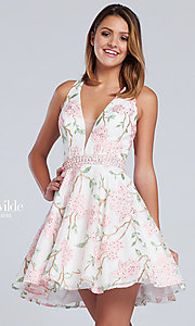 Short Print Fit and Flare V-Neck Prom Dress