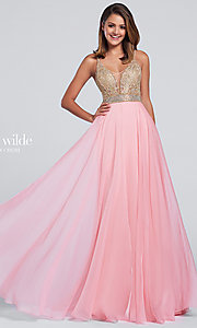 Long Chiffon V-Neck Open Back Prom Dress