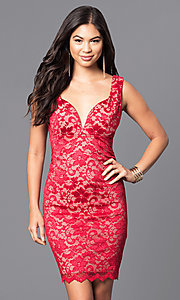 Short V-Neck Lace Holiday Party Dress