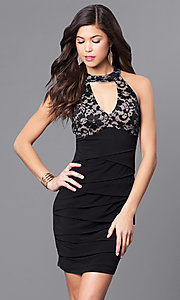 Empire-Waist Short Ruched Holiday Party Dress with Lace