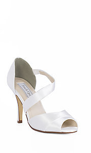 White Adeline Peep Toe Heel by Touch Ups