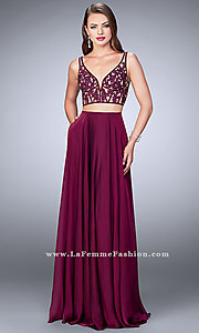 Long V-Neck Prom Dress with Embroidered Top